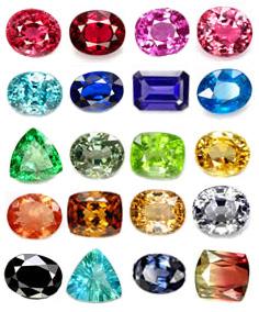 gemme di vario colore